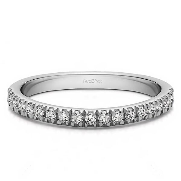 Shop 14k Gold Twenty Stone Domed French Cut Pave Set Wedding Ring
