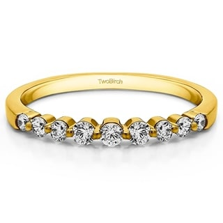 14k Gold Thin Shared Prong Wedding Band With White Sapphire 0 33 Cts Twt