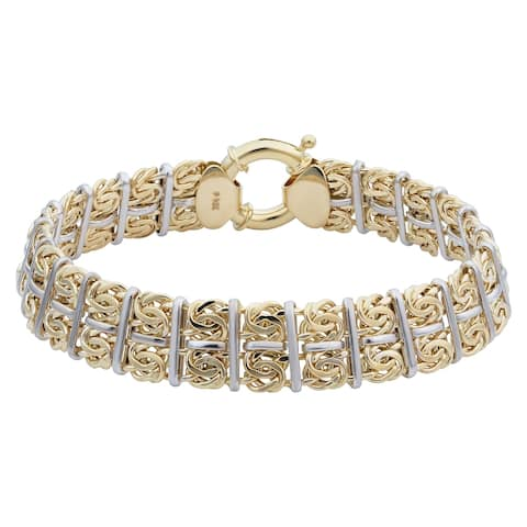 14k Two-tone Gold 11.9 millimeters Byzantine Bracelet (7.75 inches)