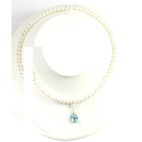 Blue Topaz and Freshwater Adjustable Collar Necklace