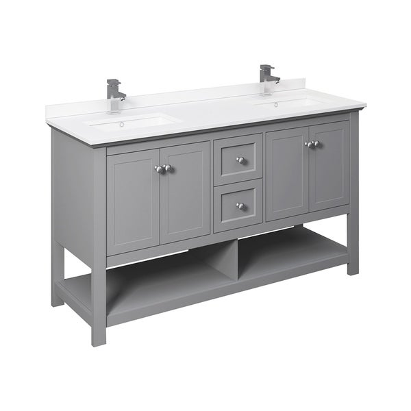 """Fresca Manchester 60"""" Gray Traditional Double Sink Bathroom Cabinet w/ Top & Sinks"""