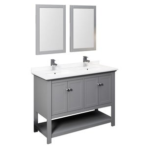 """Fresca Manchester 48"""" Gray Traditional Double Sink Bathroom Vanity w/ Mirrors"""