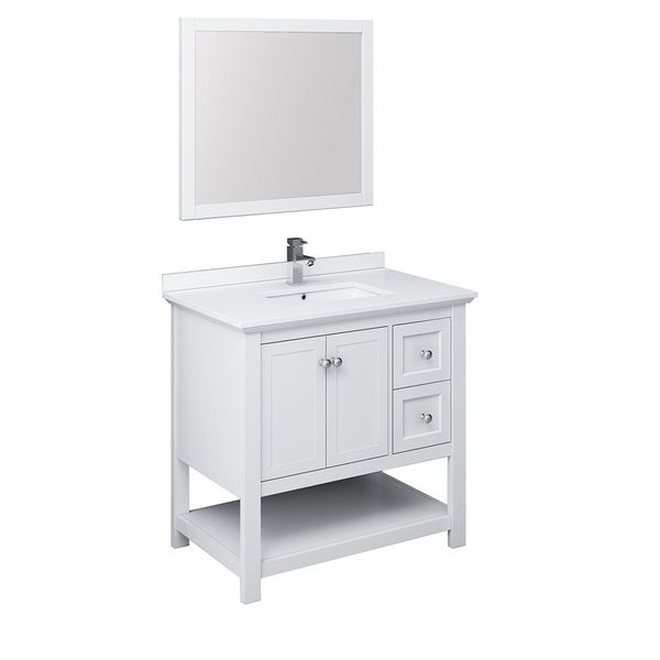 "Fresca Manchester 36"" White Traditional Bathroom Vanity w/ Mirror"
