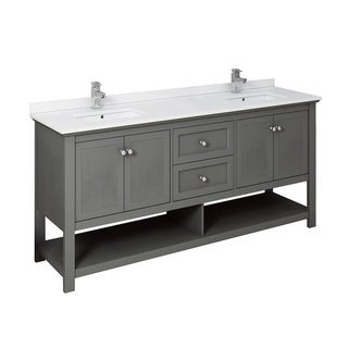 "Fresca Manchester Regal 72"" Gray Wood Veneer Traditional Double Sink Bathroom Cabinet w/ Top & Sinks"