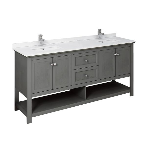 "Fresca Manchester Regal 72"" Gray Wood Veneer Traditional Double Sink Bathroom Cabinet w/ Top & Sinks"