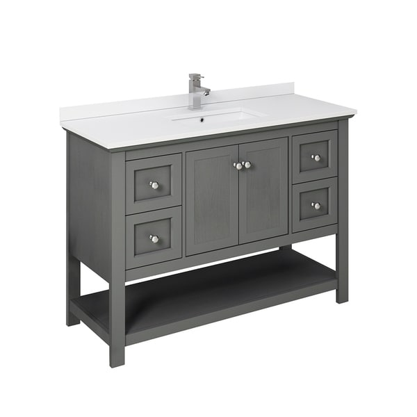 "Fresca Manchester Regal 48"" Gray Wood Veneer Traditional Bathroom Cabinet w/ Top & Sink"