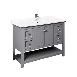 """Fresca Manchester 48"""" Gray Traditional Bathroom Cabinet w/ Top & Sink"""