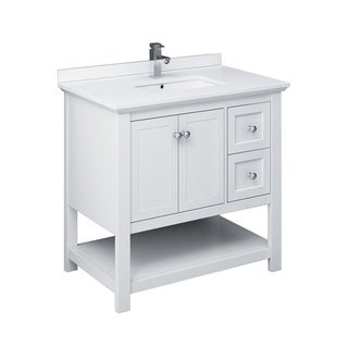"""Fresca Manchester 36"""" White Traditional Bathroom Cabinet w/ Top & Sink"""
