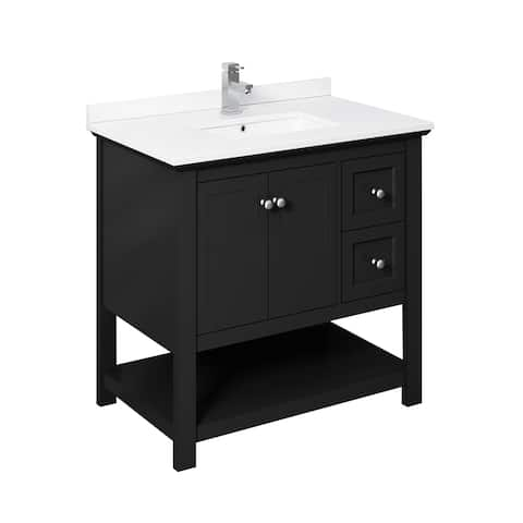 "Fresca Manchester 36"" Black Traditional Bathroom Cabinet w/ Top & Sink"