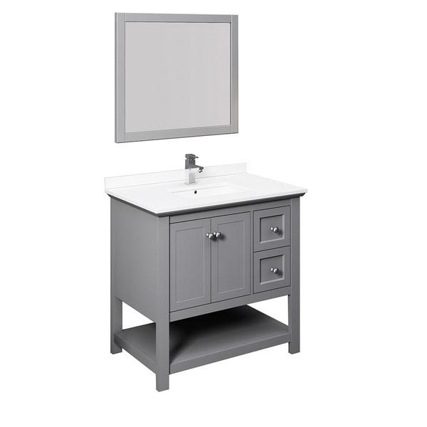 "Fresca Manchester 36"" Gray Traditional Bathroom Vanity w/ Mirror"