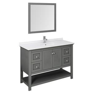 "Fresca Manchester Regal 48"" Gray Wood Veneer Traditional Bathroom Vanity w/ Mirror"