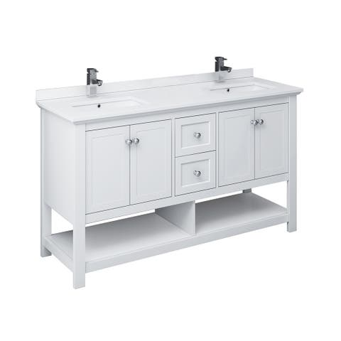 "Fresca Manchester 60"" White Traditional Double Sink Bathroom Cabinet w/ Top & Sinks"