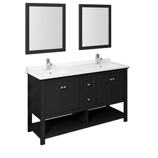 """Fresca Manchester 60"""" Black Traditional Double Sink Bathroom Vanity w/ Mirrors"""