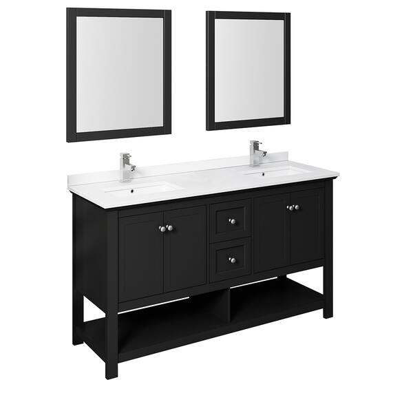 Black Traditional Double Sink Bathroom