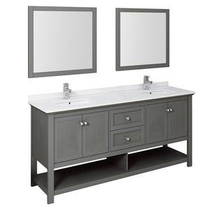 "Fresca Manchester Regal 72"" Gray Wood Veneer Traditional Double Sink Bathroom Vanity w/ Mirrors"