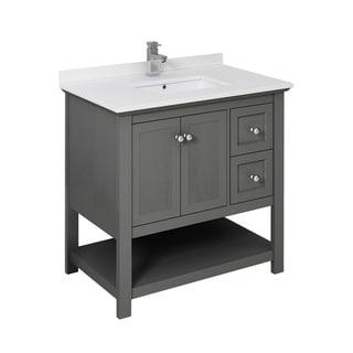 "Fresca Manchester Regal 36"" Gray Wood Veneer Traditional Bathroom Cabinet w/ Top & Sink"