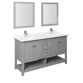 """Fresca Manchester 60"""" Gray Traditional Double Sink Bathroom Vanity w/ Mirrors"""