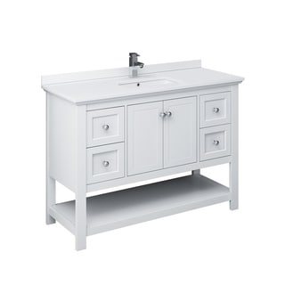 "Fresca Manchester 48"" White Traditional Bathroom Cabinet w/ Top & Sink"