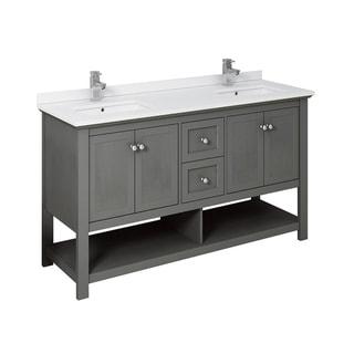 "Fresca Manchester Regal 60"" Gray Wood Veneer Traditional Double Sink Bathroom Cabinet w/ Top & Sinks"