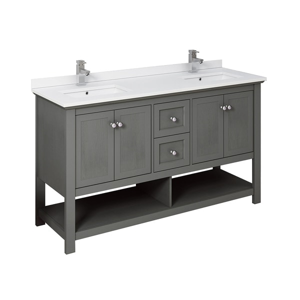 "Fresca Manchester Regal 60"" Gray Wood Veneer Traditional Double Sink Bathroom Cabinet w/ Top & Sinks"