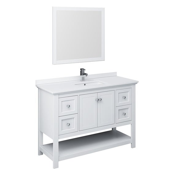 "Fresca Manchester 48"" White Traditional Bathroom Vanity w/ Mirror"
