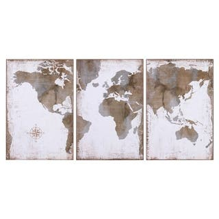 Large Vintage World Map 3 Panel Canvas Set Wall Art