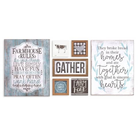 Rustic Farmhouse Gather Mixed Media Wall Art Seven Piece Set