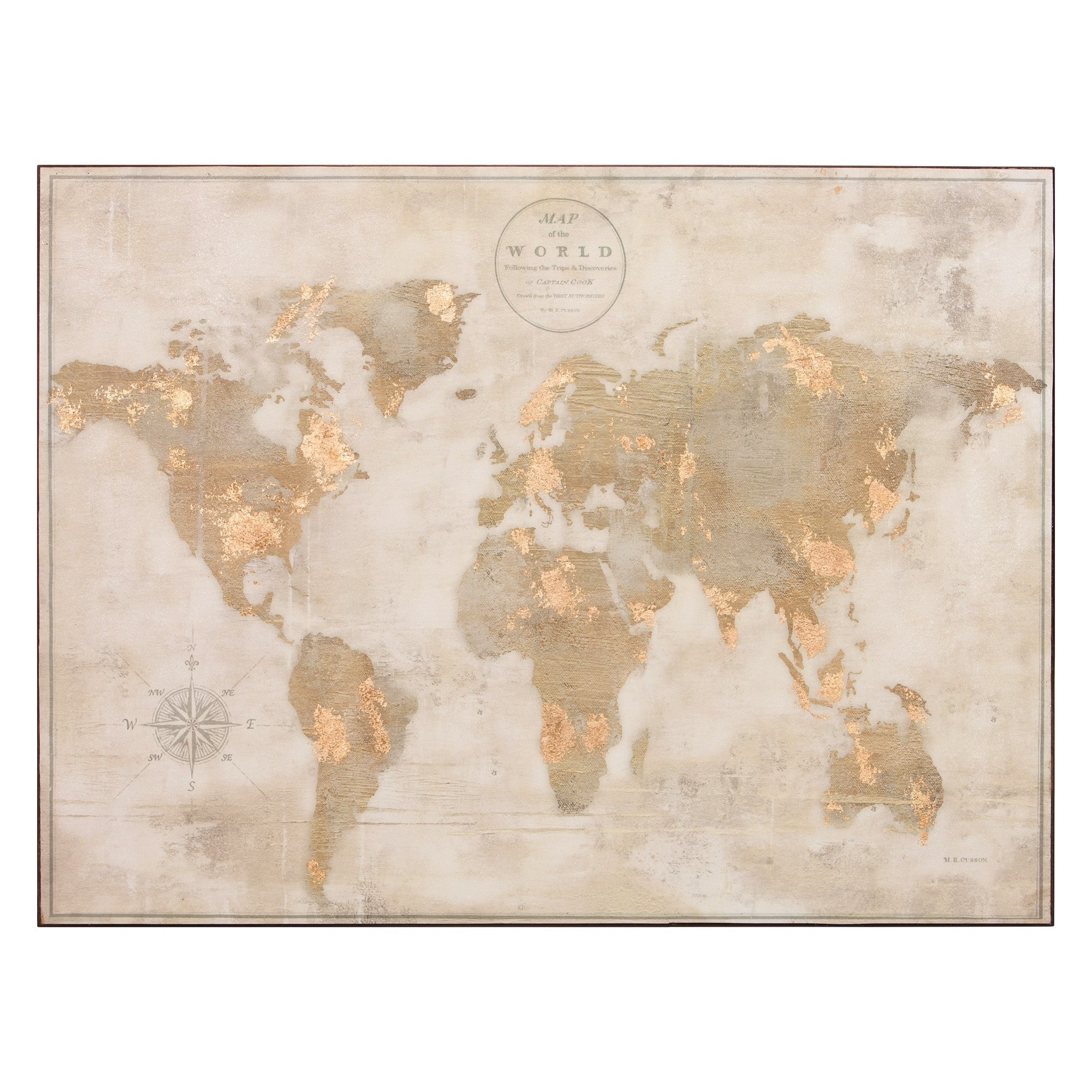 Large Antique White Vintage World Map 30x40 Stretched Canvas Wall Art