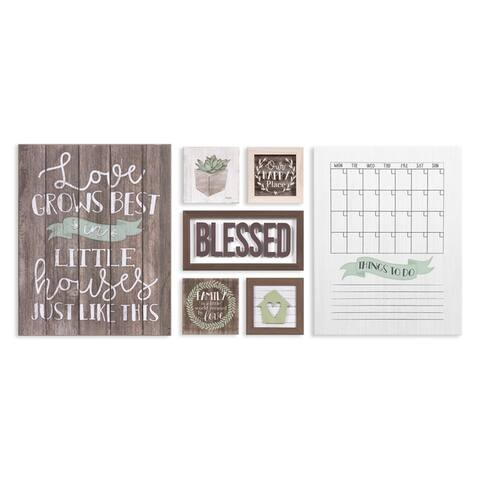 Rustic Farmhouse Blessed Mixed Media Wall Art Seven Piece Set