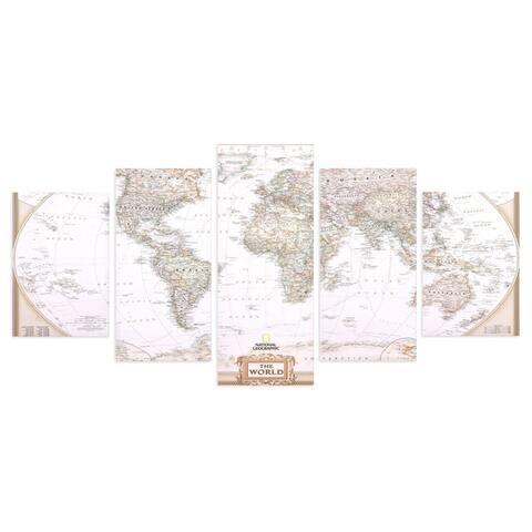 Large Vintage World Map 5 Panel Canvas Set Wall Art