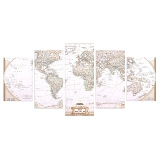 Large Vintage World Map 5 Panel Canvas Set Wall Art