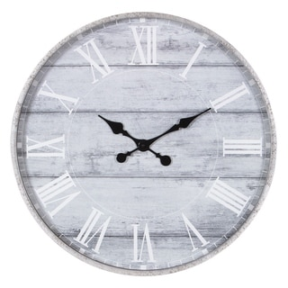 "28"" Galvanized Metal Washed Wood Plank Roman Numeral Round Wall Clock"