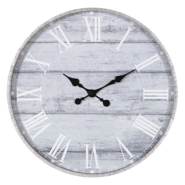 "28"" Galvanized Metal Washed Wood Plank Roman Numeral Round Wall Clock - N/A"