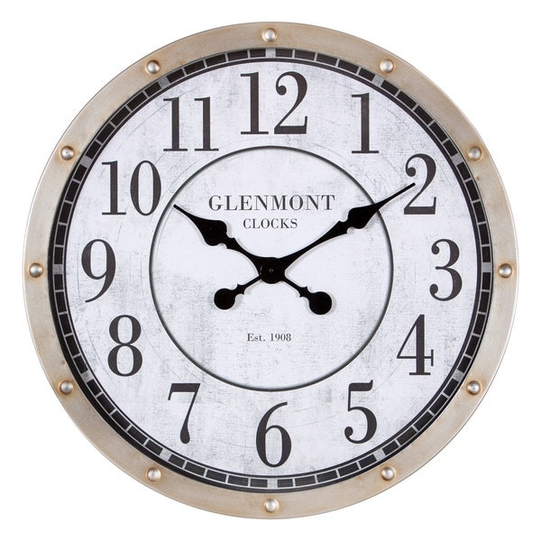 "24"" Glenmont Rustic Port Hole Brushed Silver Metal Round Wall Clock - N/A"