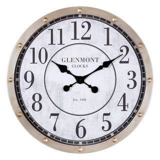 """24"""" Glenmont Rustic Port Hole Brushed Silver Metal Round Wall Clock"""