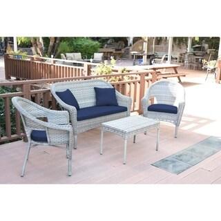 Set of 4 Grey Resin Wicker Clark Conversation Set with Midnight Blue Cushion