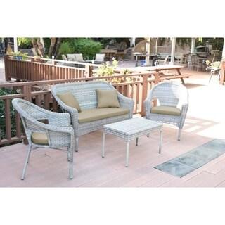 Set of 4 Grey Resin Wicker Clark Conversation Set with Tan Cushion
