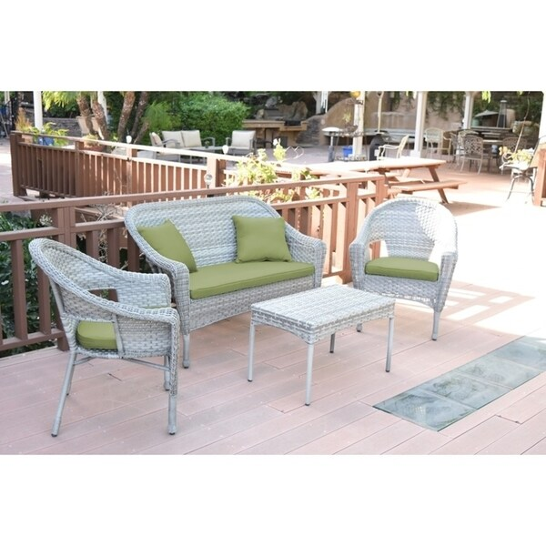 Set of 4 Grey Resin Wicker Clark Conversation Set with Sage Green Cushion