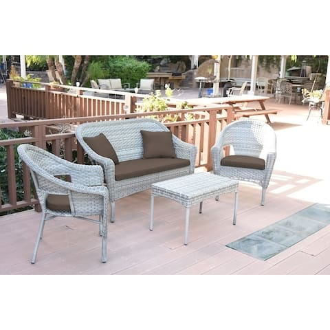 Set of 4 Grey Resin Wicker Clark Conversation Set with Brown Cushion