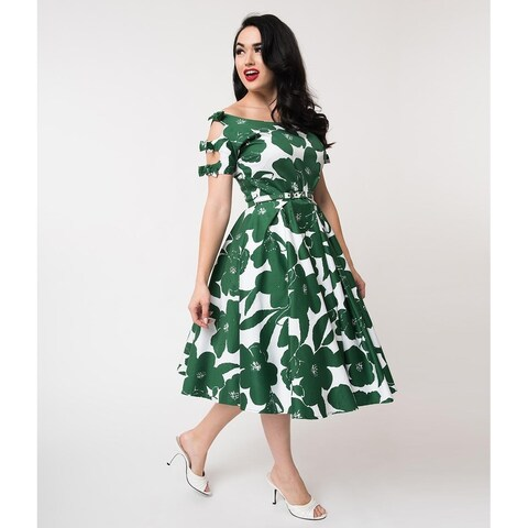 Unique Vintage White & Green Floral Selma Swing Dress