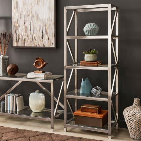 Copper Grove Valkeakoski Brushed Nickel Bookcase