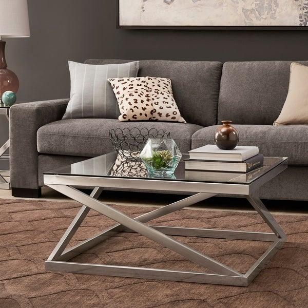 Hideout End Table Free Shipping: Shop Copper Grove Valkeakoski Brushed Nickel Coffee Table