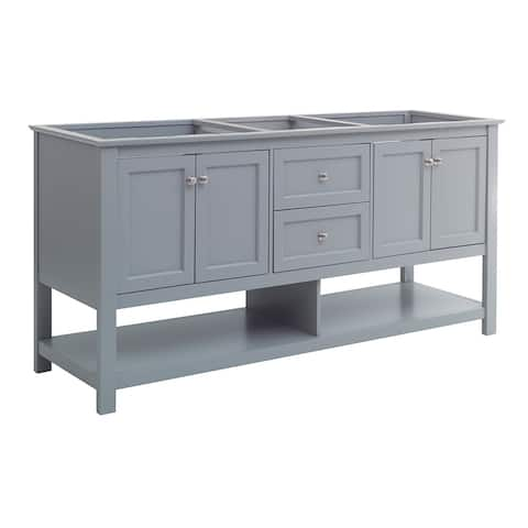 """Fresca Manchester 72"""" Gray Traditional Double Sink Bathroom Cabinet"""