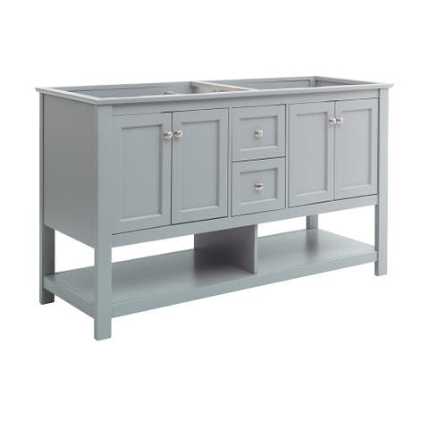 """Fresca Manchester 60"""" Gray Traditional Double Sink Bathroom Cabinet"""