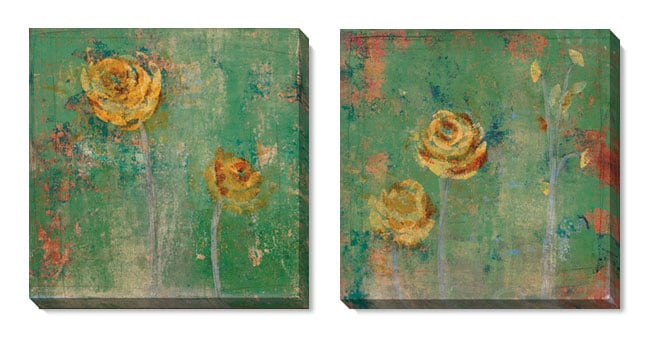 Gallery Direct Green Floral Series Gallery-wrapped Canvas Art Set