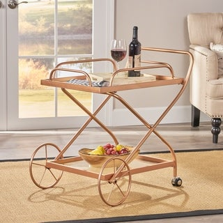 Perley Traditional Glass Bar Cart with Shelves by Christopher Knight Home - N/A