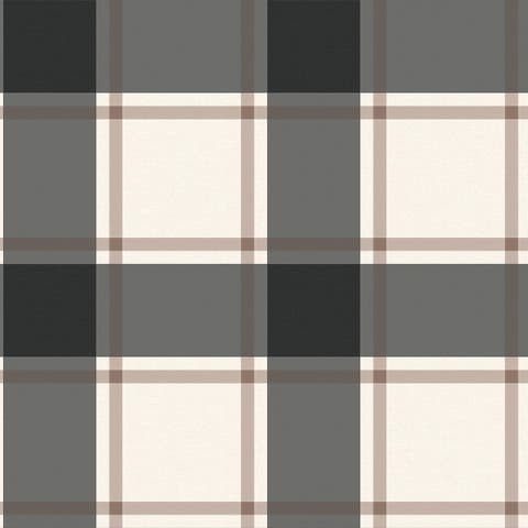 Plaid Black & Ivory Peel and Stick Wallpaper