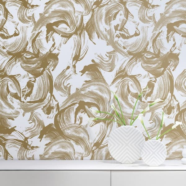 Cosmoliving L Amour Metallic Gold White Peel And Stick Wallpaper