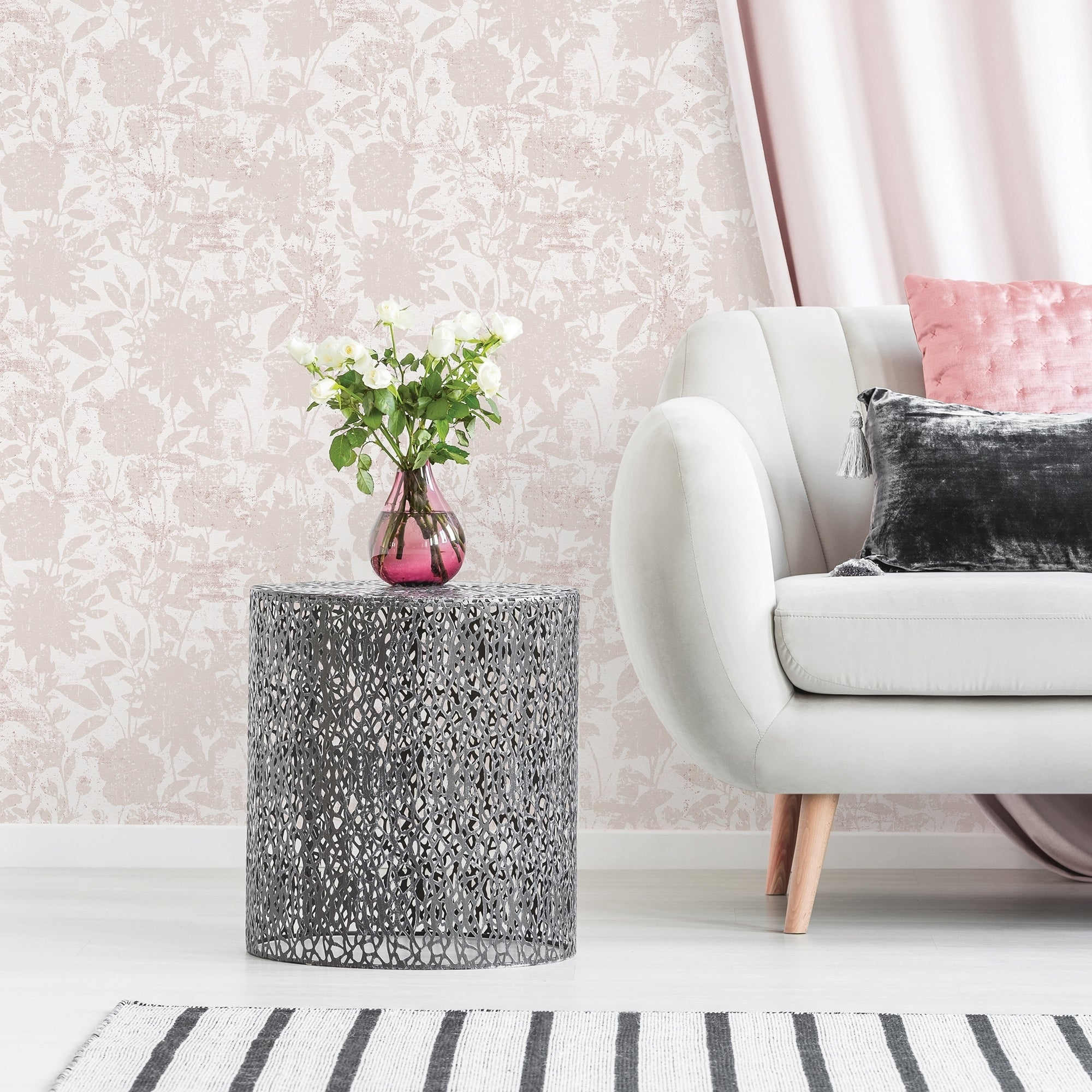 Shop Garden Floral Dusted Pink Peel And Stick Wallpaper On Sale