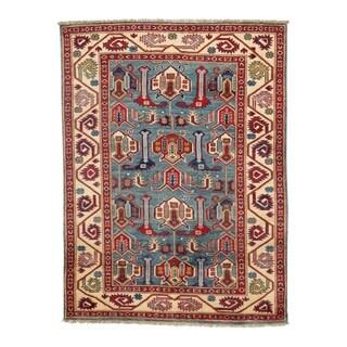 Pasargad DC Pak Kazak Lamb's Wool Rug - 3′6″ × 5′